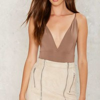 Down It Plunging Bodysuit - Brown