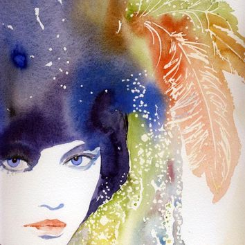 Watercolor Fashion Illustration Print  by silverridgestudio