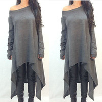 2016 Cotton Long Sleeve oversized T shirt Women  Autumn Irregular Dovetail Loose Korean Shirt Plus size 3XL  QL1635