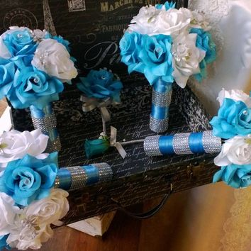 17 Piece Malibu Blue White Silver Wedding Flower Set, Bridal Bouquet, Malibu Blue Bouquet, Turquoise White Bouquet, Blue Wedding Bouquet