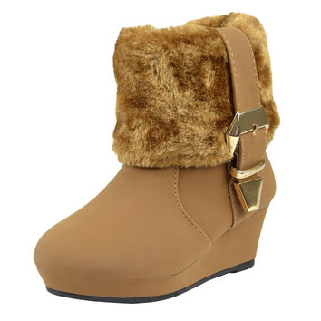 Kids Ankle Boots Fur Cuff Buckle Accent Casual Wedge Shoes Tan SZ