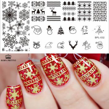 Christmas Stamping Plate L032 Xmas Snowflake Nail Art Stamp Template Image Stamp Plate BP-L032 12.5 x 6.5cm #23268
