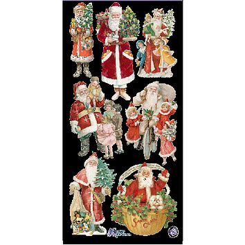 Victorian Christmas Merry Cherry Santas Stickers