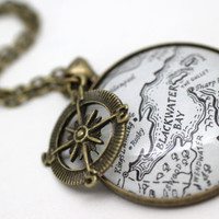 Game of Thrones 'King's Landing, Dragonstone and Blackwater Bay' Map Book Page Large Necklace