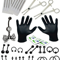 BodyJ4You® Body Piercing Kit Belly Rings Black Bow Tongue Tragus Ear Eyebrow Nipple 36 Pieces