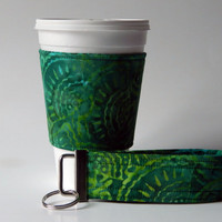 Green and Yellow Batkin Coffee Cup Cozy Sleeve and Wristlet Key Fob, Keychain