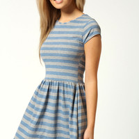 Daisy Cap Sleeve Striped T Shirt Dress