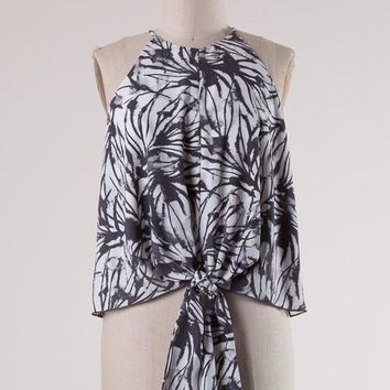 Round Neck Abstract Top