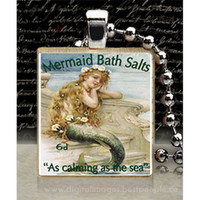 Vintage Mermaid Bath Salts Ad Scrabble Tile by Pendantmonium