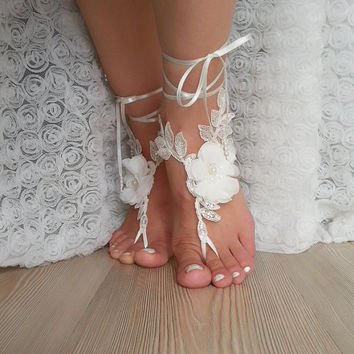 ivory scaly  Barefoot , french lace sandals, wedding anklet, Beach wedding barefoot sandals, embroidered sandals.