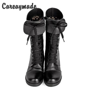 Careaymade-New British style Head layer cowhide lady shoes autumn winter women boots fashion high boots warm shoes woman boots