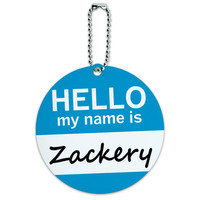 Zackery Hello My Name Is Round ID Card Luggage Tag