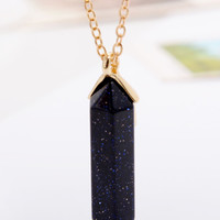Black Shard Drop Long Necklace