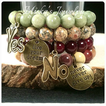 Yes and No Miskas Jewelry Inspirational Stay Positive Designer Bracelet Stack Set