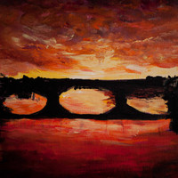 Sunset in Florence original painting, Dark purple orange, Ponte Vecchio bridge, romantic Florence architecture
