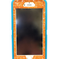 iPhone 6 (4.7 inch) OtterBox Defender Series Case Glitter Cute Sparkly Bling Defender Series Custom Case teal / orange