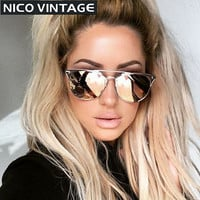 Mirror Rose Gold Women Sunglasses Round Luxury Brand Female Sun Glasses For Women 2016 Fashion Oculos Designer Style Shades