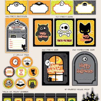 Happy Halloween Party Décor Kit - PRINTABLE Deocrations Decor by Paperholic