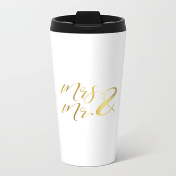 Mr Mrs Love Prints. Wedding Art Prints. Real Gold or Silver Foil Print. His and Hers Wall Art. Metal Travel Mug by NikolaJovanovic