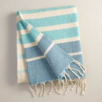 Oversized Aqua Ombre Indoor-Outdoor Throw