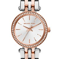 Women's Michael Kors 'Petite' Darci' Crystal Bezel Bracelet Watch, 26mm - Silver/ Rose Gold