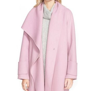 Shop Draped Wool Coat on Wanelo