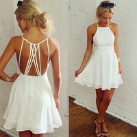 White Summer Slim Strap Dress