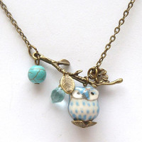 Antiqued Brass Leaf Green Turquoise Quartz Porcelain Owl Necklace