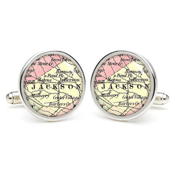 Jackson city map cufflinks , wedding gift ideas for groom,perfect gift for dad,great gift ideas for men,groomsmen cufflinks