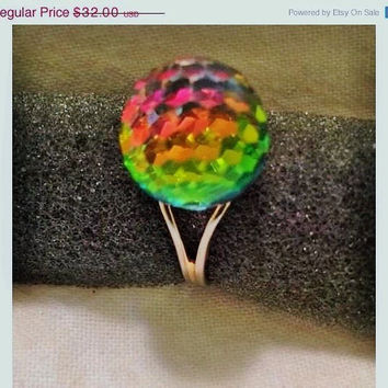 SALE Vintage Retro Mod Multi Color Changing Glass Disco Ball Globe Adjustable Gold Ring Jewelry Gift