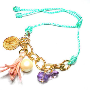 Mint Knotted Friendship Bracelets  faux pearl
