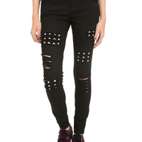 Royal Bones By Tripp Black Studded Skinny Jeans