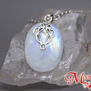 Rainbow Moonstone Oval Celtic Inspired Knot Sterling Silver Pendant SP-002