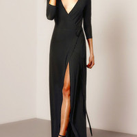 High Slit Sexy Black Maxi Dress