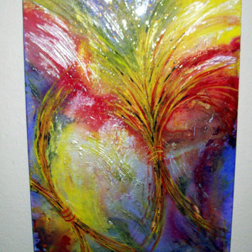 """Abstract Painting, Original Mixed Media Abstract by Artist, Colorful Painting, Glossy Finished Painting on Canvas, """"Harvest"""", Christian Art"""