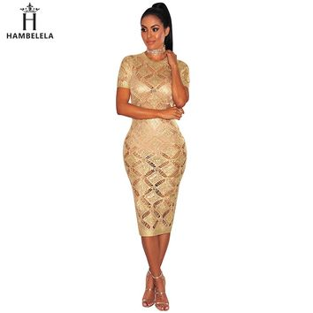 Hambelela 2017 Sexy Evening Party Bodycon Dress Short Sleeve Knitted Dress Party Night Club Dress Gold Shinning Robe Longue Ete