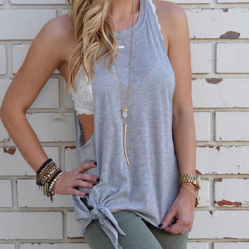 63728795030c99 2017 Summer Solid Tank Tops Modal Lace Up Bow-knot Vest Women Sleeveless T-