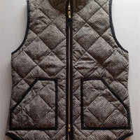 Autumn&Winter Womens Outerwear Real Photo Designer Inspired Cotton Textured Herringbone Quilted Puffer Vest Gold Zipper +Free Gift Tatto Choker Necklace