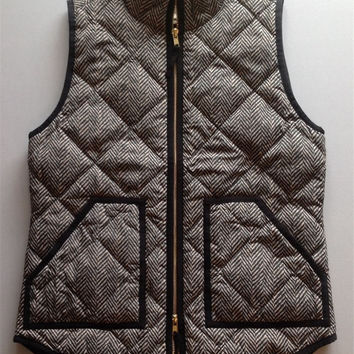 Autumn&Winter Womens Outerwear Real Photo Designer Inspired Cotton Textured Herringbone Quilted Puffer Vest Gold Zipper  +Free Christmas Gift -Random Necklace