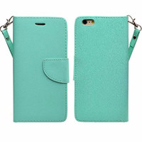For Apple iPhone 6s Plus Case / 6 Plus Case, Wrist Strap Pu Leather Magnetic Fold[Kickstand] Wallet Case with ID & Card Slots for Iphone 6S Plus/6 Plus - Teal