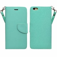 Apple iPhone 6s Plus Case / 6 Plus Case, Wrist Strap Pu Leather Magnetic Fold[Kickstand] Wallet Case with ID & Card Slots for Iphone 6S Plus/6 Plus - Teal