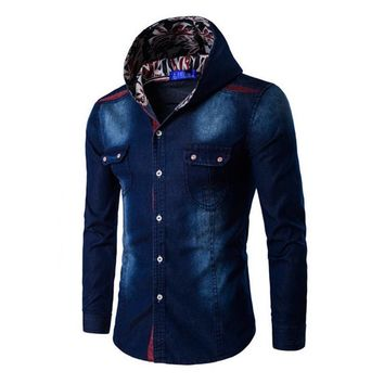 Mens Jeans Hooded Button Down Blouse Denim Long Sleeve Hoodie T-shirts Tops US