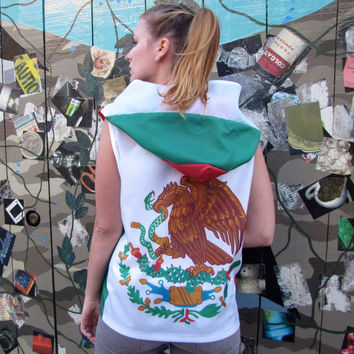 Handmade Mexican Flag hoodie windbreaker - womens clothing- mens clothing- upcycled clothing- mexican jacket- flag shirt- zippered