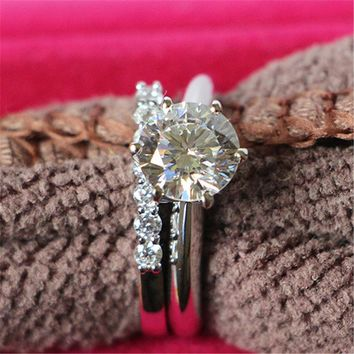 2 CT SONA Fine Diamond Ring With Band Original Sterling Silver With 18k White Gold Cover Ring Perfect Xmas Jewelry Gift