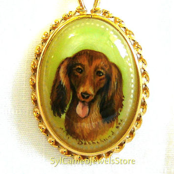 Hand Painted Cameo Dachshund Dog Pendant Mother Of Pearl Shell 14k Gold Fill Fancy Setting Collectible Fine Art Jewelry Gift