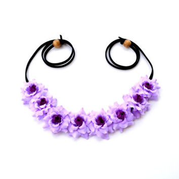 Purple Flower Halo Floral Crown Flower Headband Hippie Headpiece Festival Wear Bonnaroo Coachella Flower Crown Purple Rose Halo