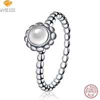 WYBEADS 100% 925 Sterling Silver Rock Crystal April Birthday Blooms Rings For Women Ring Finger Famous Original Jewelry Making
