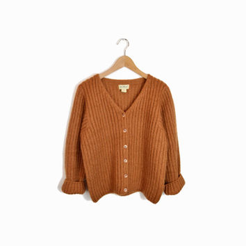 Vintage L.L. Bean Mohair Cardigan Sweater in Rust - women's small
