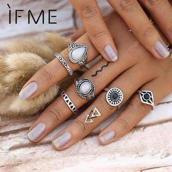 Steampunk Bijoux Vintage Silver Color Black Stone Knuckle Ring Set White Opal Midi Rings BOHO Female Charms Jewelry