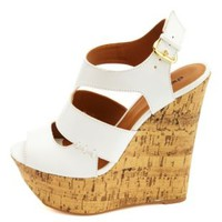 Cut-Out Peep Toe Platform Wedges by Charlotte Russe - White